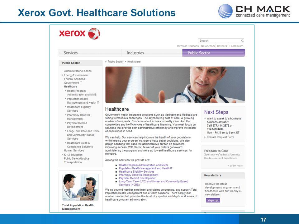 17 Xerox Govt. Healthcare Solutions