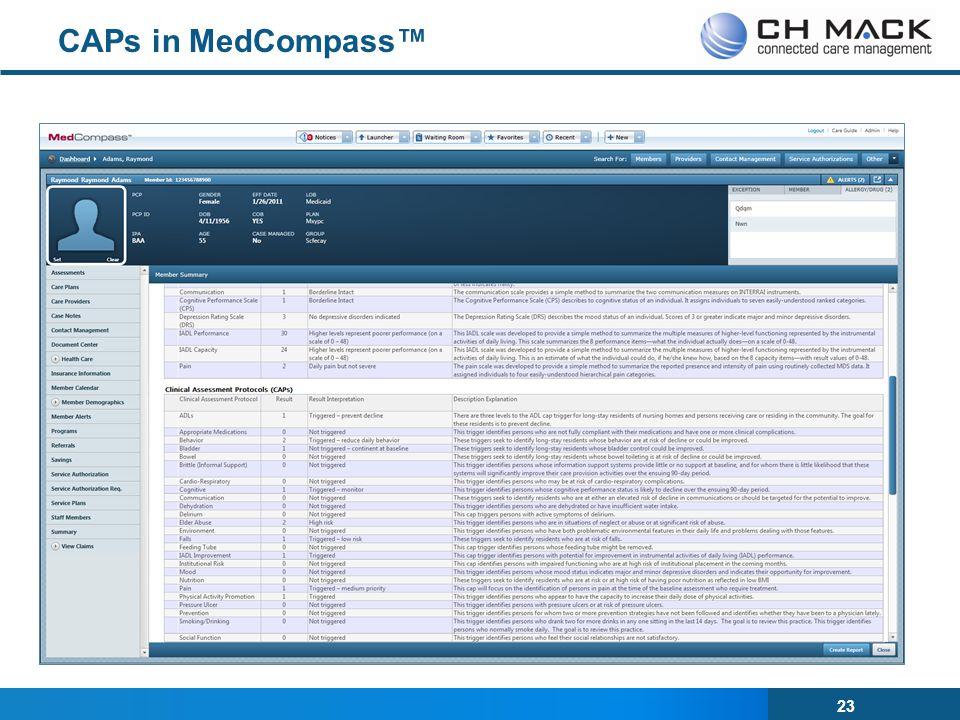 23 CAPs in MedCompass™