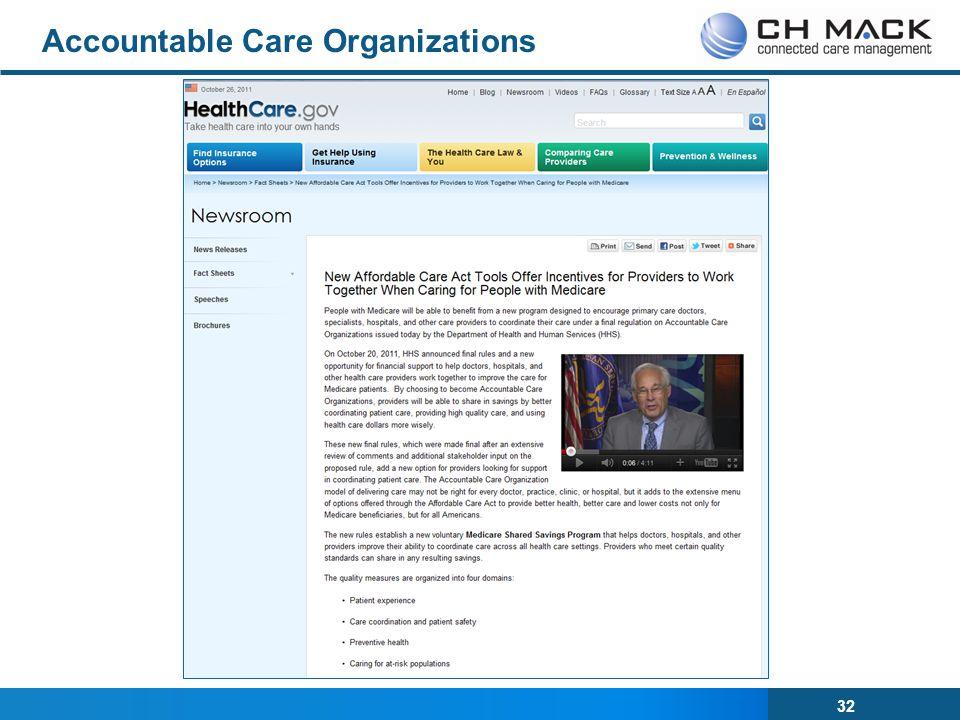 32 Accountable Care Organizations