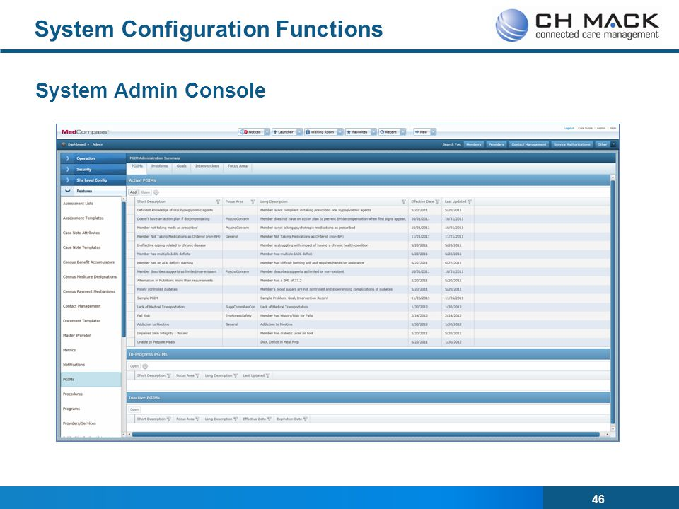 46 System Configuration Functions System Admin Console
