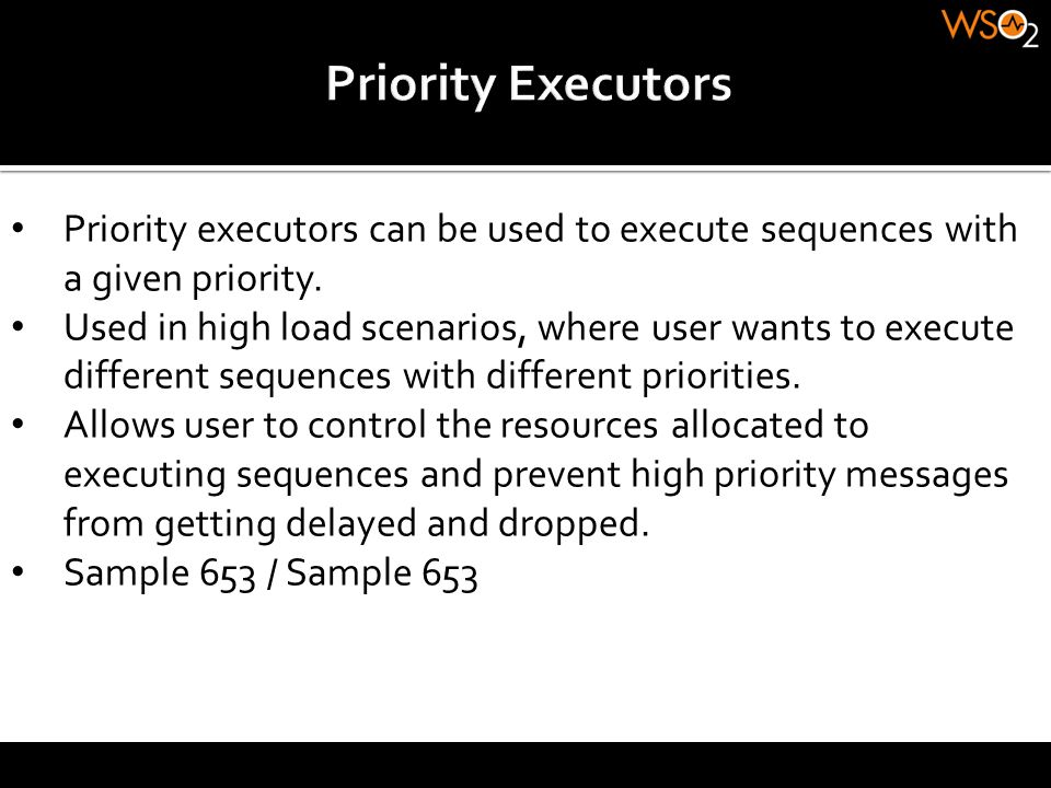 Priority executors can be used to execute sequences with a given priority. Used in high load scenarios, where user wants to execute different sequence