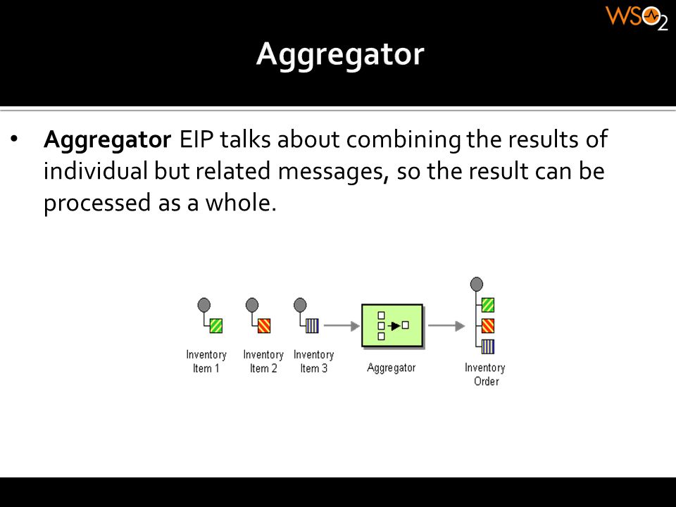 Aggregator EIP talks about combining the results of individual but related messages, so the result can be processed as a whole.