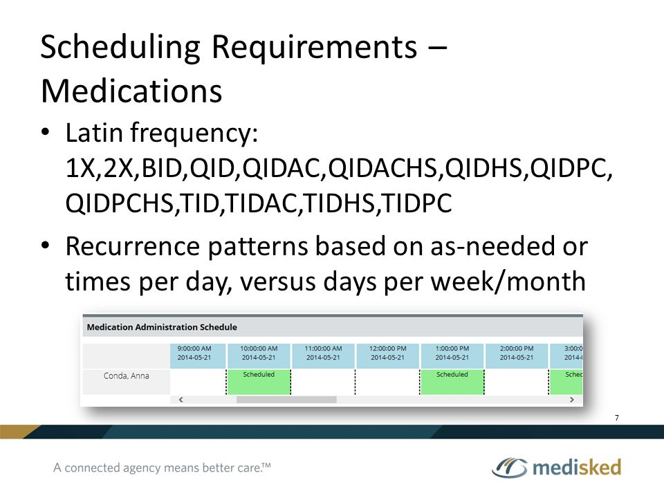 Scheduling Requirements – Medications Latin frequency: 1X,2X,BID,QID,QIDAC,QIDACHS,QIDHS,QIDPC, QIDPCHS,TID,TIDAC,TIDHS,TIDPC Recurrence patterns base