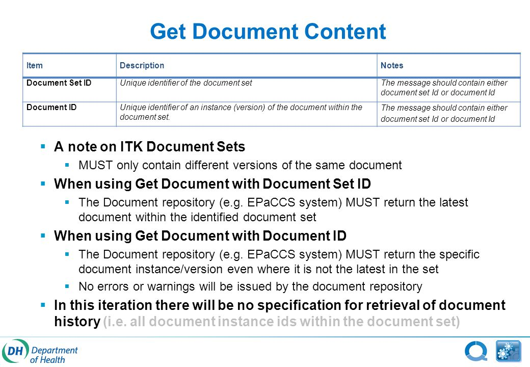 Get Document Content ItemDescriptionNotes Document Set IDUnique identifier of the document setThe message should contain either document set Id or document Id Document IDUnique identifier of an instance (version) of the document within the document set.