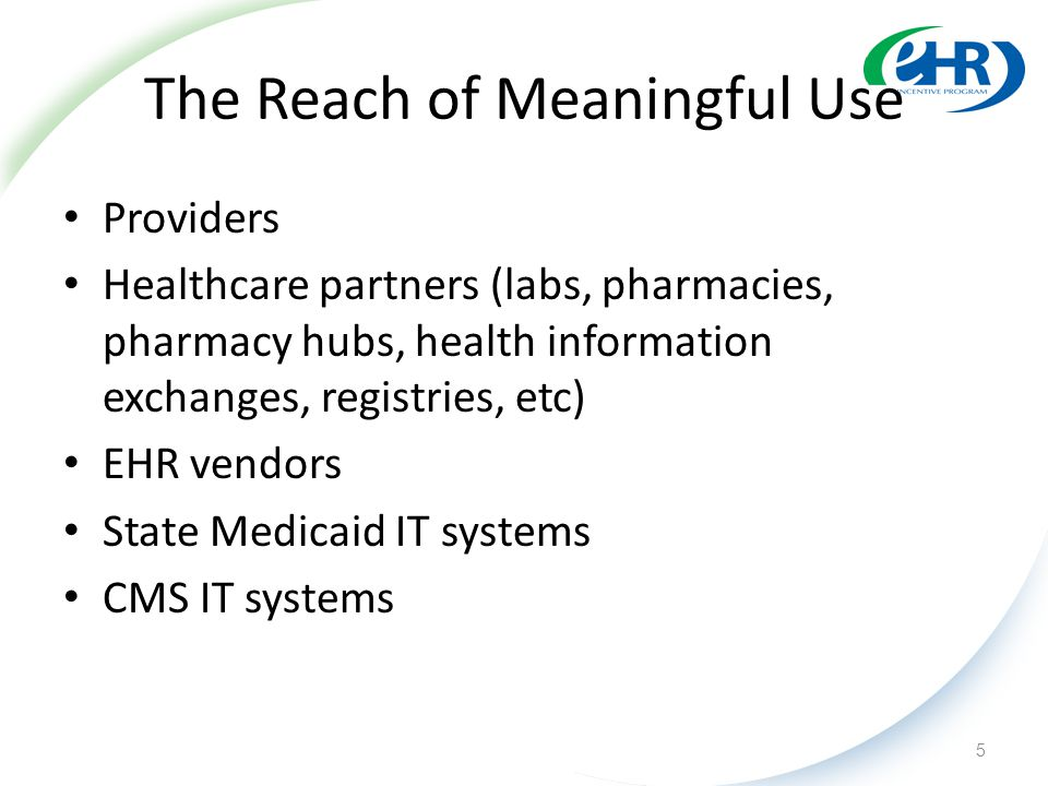 The Reach of Meaningful Use Providers Healthcare partners (labs, pharmacies, pharmacy hubs, health information exchanges, registries, etc) EHR vendors