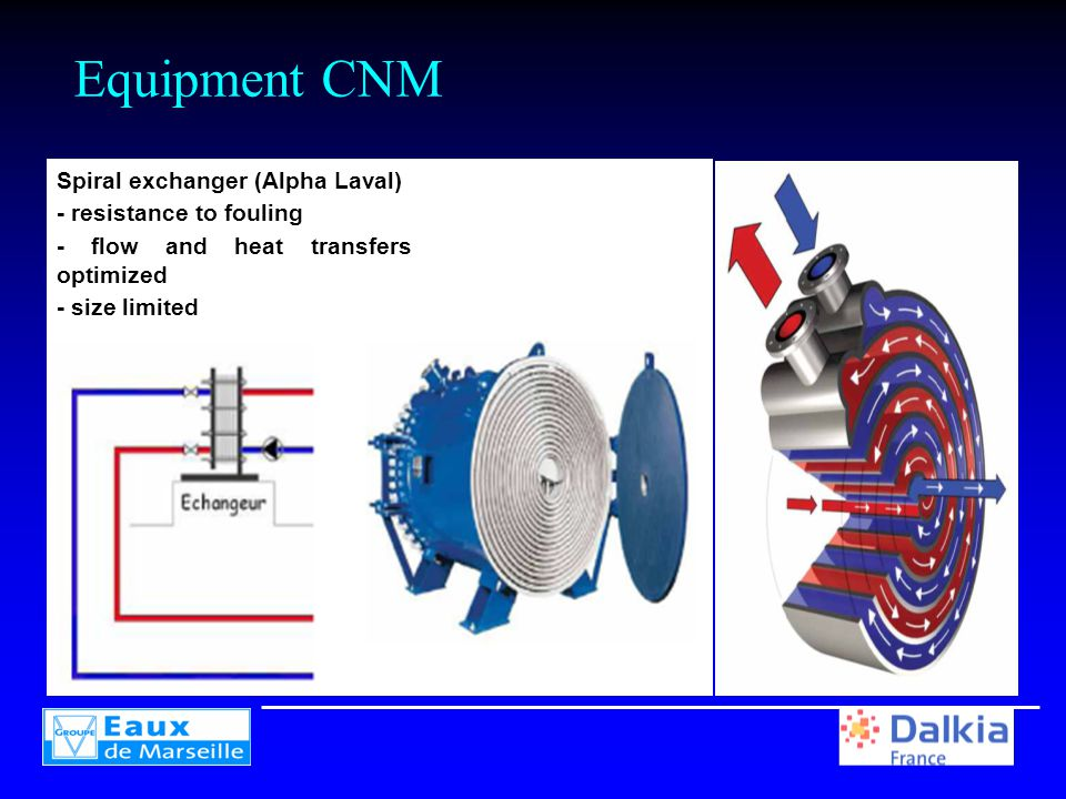 Equipment CNM Spiral exchanger (Alpha Laval) - resistance to fouling - flow and heat transfers optimized - size limited