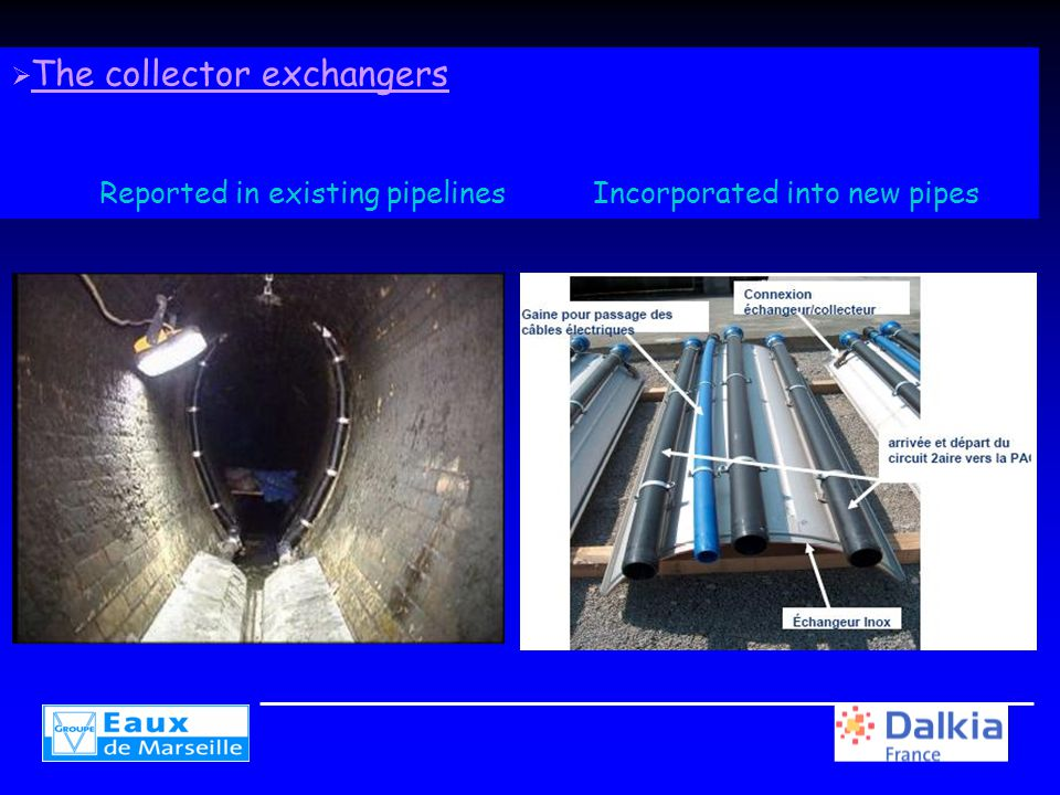  The collector exchangers Reported in existing pipelines Incorporated into new pipes