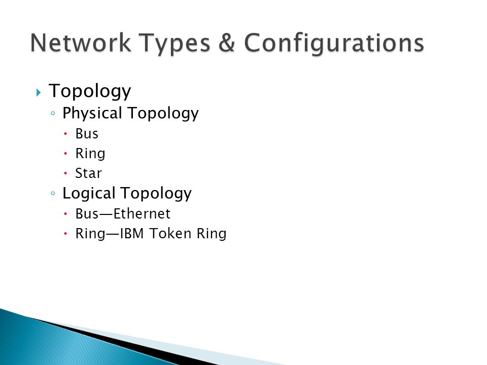  Topology ◦ Physical Topology  Bus  Ring  Star ◦ Logical Topology  Bus—Ethernet  Ring—IBM Token Ring
