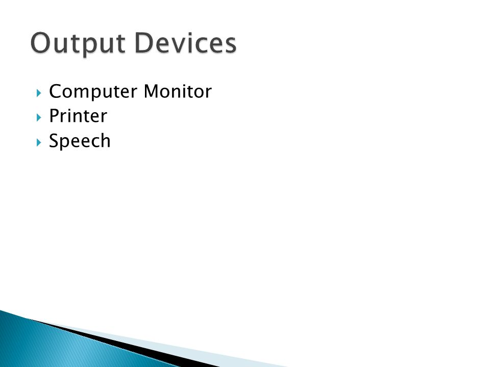 Computer Monitor  Printer  Speech