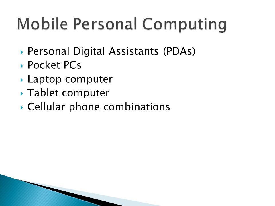  Personal Digital Assistants (PDAs)  Pocket PCs  Laptop computer  Tablet computer  Cellular phone combinations
