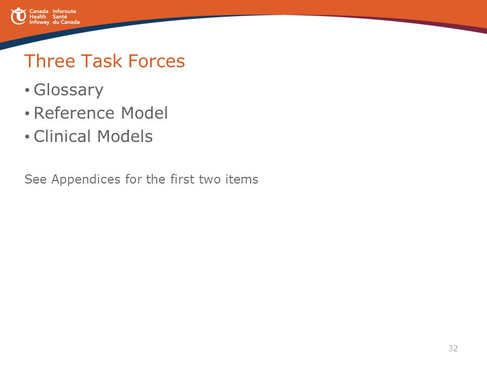 32 Three Task Forces Glossary Reference Model Clinical Models See Appendices for the first two items
