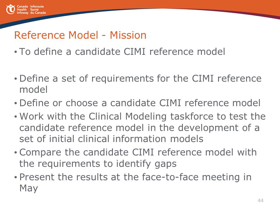44 Reference Model - Mission To define a candidate CIMI reference model Define a set of requirements for the CIMI reference model Define or choose a c