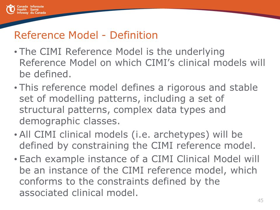 45 Reference Model - Definition The CIMI Reference Model is the underlying Reference Model on which CIMI's clinical models will be defined. This refer