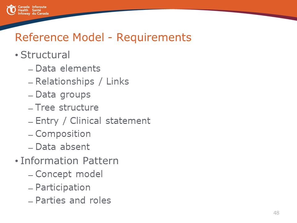 48 Reference Model - Requirements Structural — Data elements — Relationships / Links — Data groups — Tree structure — Entry / Clinical statement — Com
