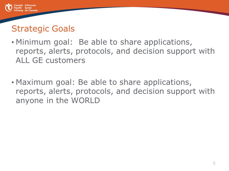 5 Strategic Goals Minimum goal: Be able to share applications, reports, alerts, protocols, and decision support with ALL GE customers Maximum goal: Be