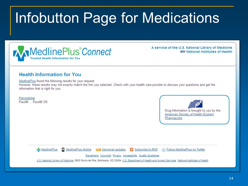 Infobutton Page for Medications 14