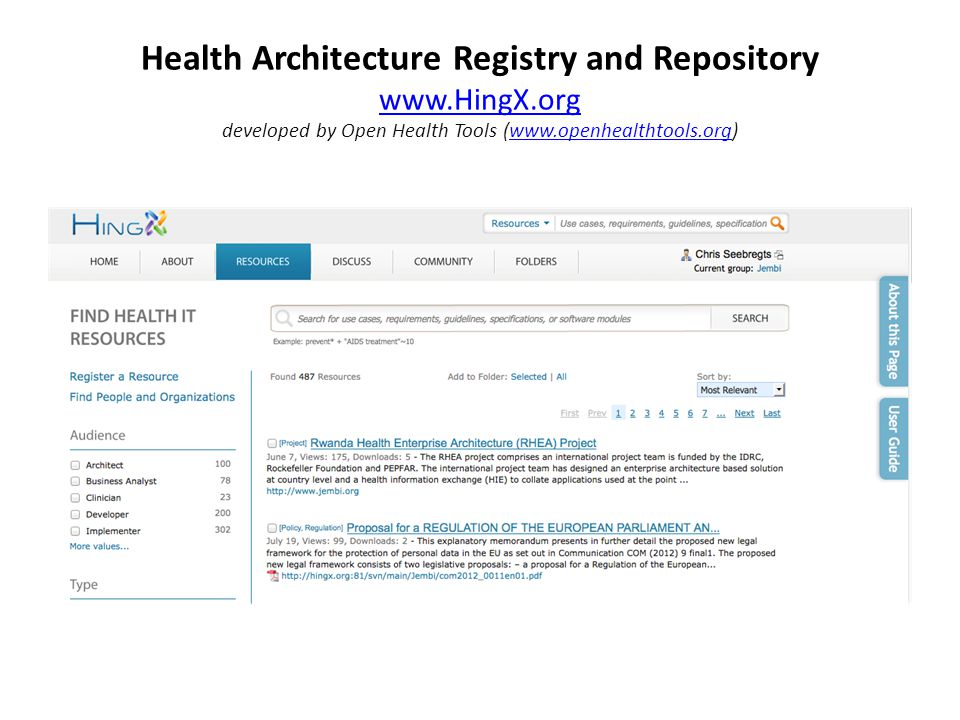 Health Architecture Registry and Repository www.HingX.org developed by Open Health Tools (www.openhealthtools.org) www.HingX.orgwww.openhealthtools.org