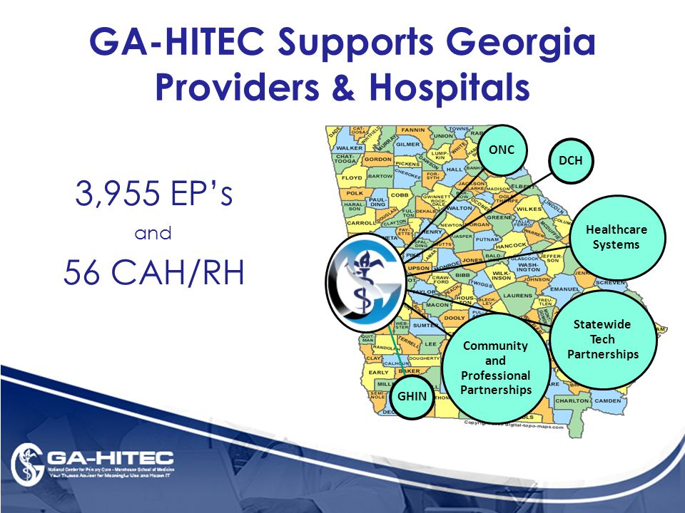 3,955 EP's and 56 CAH/RH DCH ONC Healthcare Systems Statewide Tech Partnerships Community and Professional Partnerships GHIN GA-HITEC Supports Georgia Providers & Hospitals