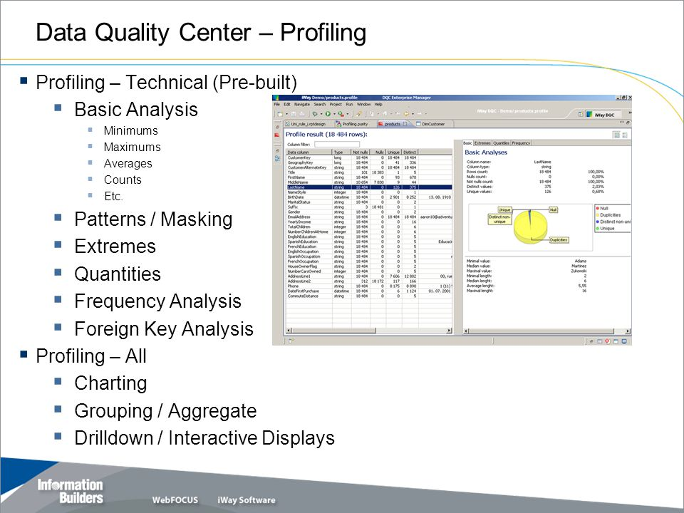 Data Quality Center – Profiling  Profiling – Technical (Pre-built)  Basic Analysis  Minimums  Maximums  Averages  Counts  Etc.