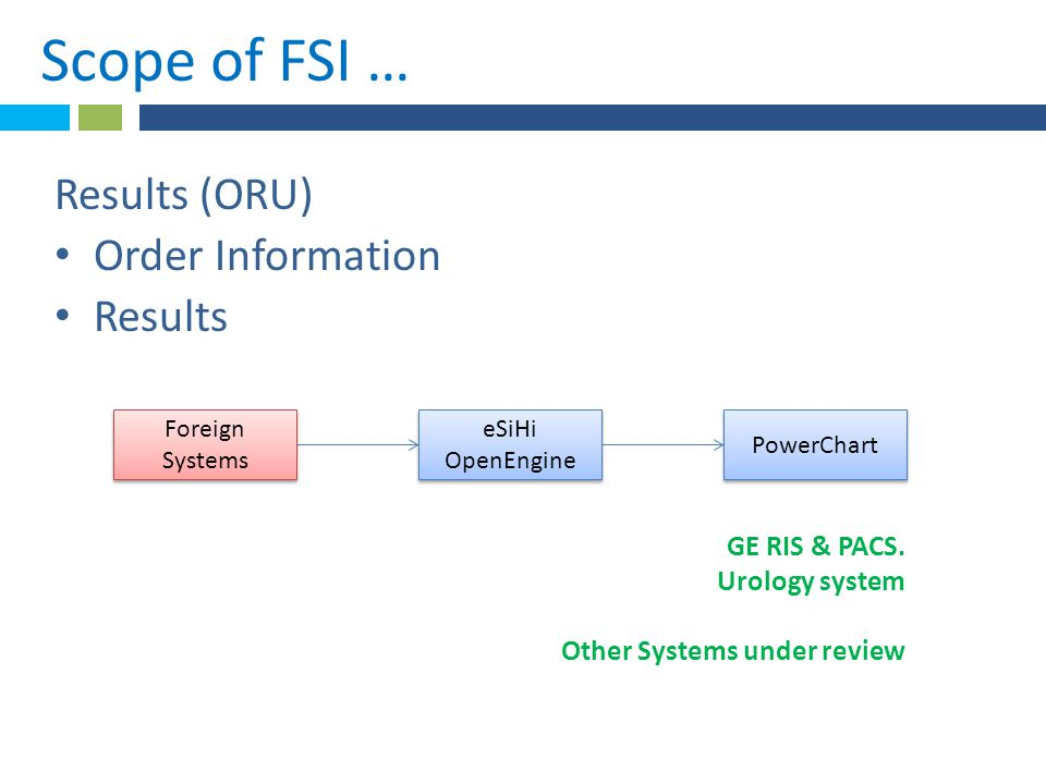 *Scope of FSI ….Foreign Systems eSiHi OpenEngine PowerChart GE RIS & PACS.
