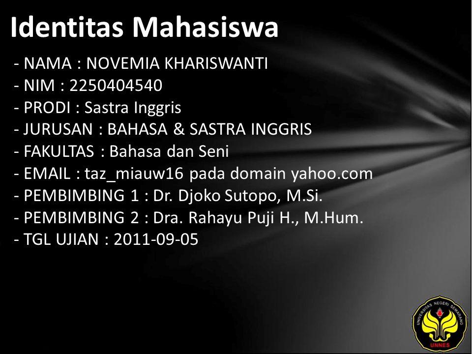 Identitas Mahasiswa - NAMA : NOVEMIA KHARISWANTI - NIM : 2250404540 - PRODI : Sastra Inggris - JURUSAN : BAHASA & SASTRA INGGRIS - FAKULTAS : Bahasa dan Seni - EMAIL : taz_miauw16 pada domain yahoo.com - PEMBIMBING 1 : Dr.