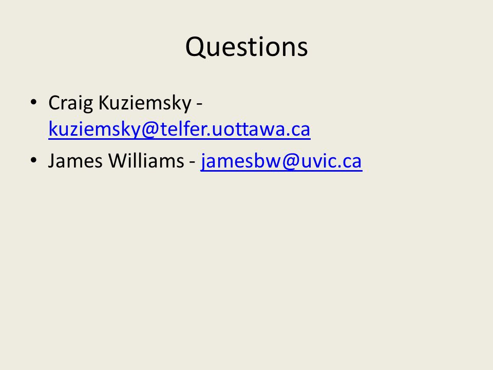 Questions Craig Kuziemsky -  James Williams -