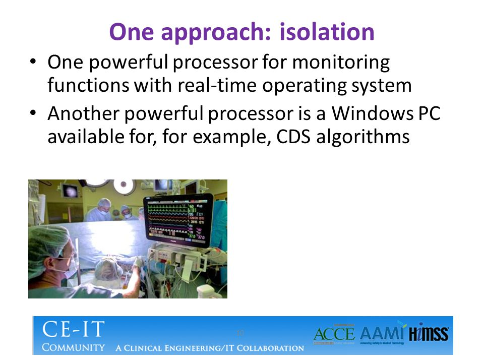 One approach: isolation 10 One powerful processor for monitoring functions with real-time operating system Another powerful processor is a Windows PC available for, for example, CDS algorithms