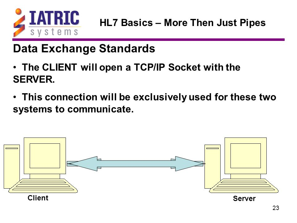 23 HL7 Basics – More Then Just Pipes Data Exchange Standards The CLIENT will open a TCP/IP Socket with the SERVER.