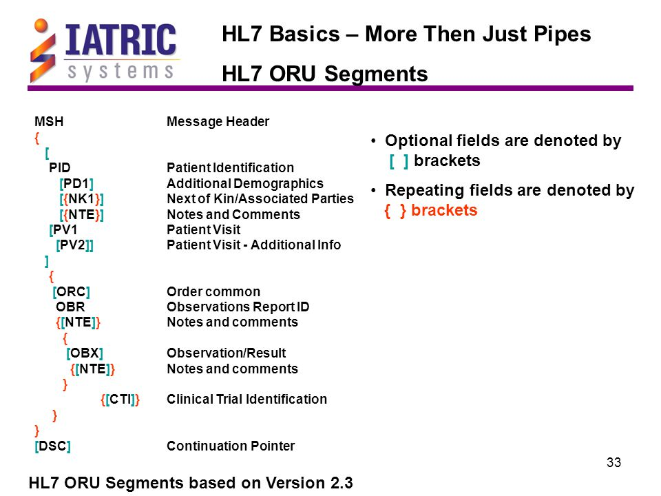 33 HL7 Basics – More Then Just Pipes HL7 ORU Segments HL7 ORU Segments based on Version 2.3 MSHMessage Header { [ PIDPatient Identification [PD1]Additional Demographics [{NK1}]Next of Kin/Associated Parties [{NTE}]Notes and Comments [PV1Patient Visit [PV2]]Patient Visit - Additional Info ] { [ORC]Order common OBRObservations Report ID {[NTE]}Notes and comments { [OBX]Observation/Result {[NTE]}Notes and comments } {[CTI]}Clinical Trial Identification } [DSC]Continuation Pointer Optional fields are denoted by [ ] brackets Repeating fields are denoted by { } brackets