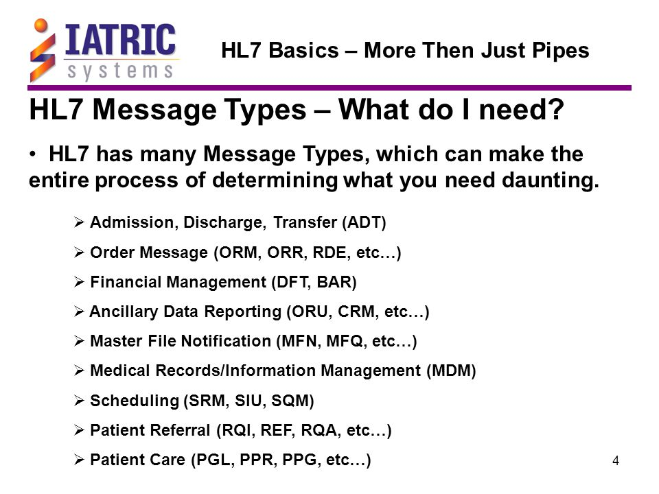 35 HL7 Basics – More Then Just Pipes HL7 Data Types HL7 Data Types based on Version 2.3 Here an abbreviated list of Data Types as an example: