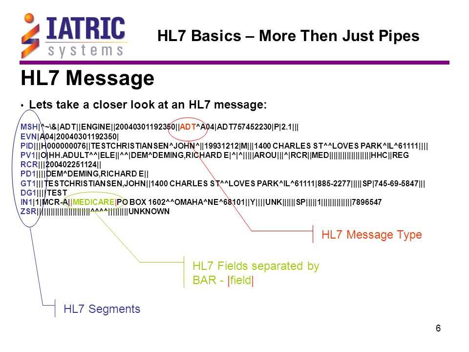 7 HL7 Basics – More Then Just Pipes HL7 Segments: MSH|^~\&|SEMM||PYXIS||20040301192350||ADT^A04|ADT757452230|P|2.1||| EVN|A04|20040301192350| PID|||H000000076||TESTCHRISTIANSEN^JOHN^||19931212|M|||1400 CHARLES ST^^LOVES PARK^IL^61111|||| PV1||O|HH.ADULT^^|ELE||^^|DEM^DEMING,RICHARD E|^|^|||||AROU|||^|RCR||MED|||||||||||||||||||HHC||REG RCR|||200402251124|| PD1||||DEM^DEMING,RICHARD E|| GT1|||TESTCHRISTIANSEN,JOHN||1400 CHARLES ST^^LOVES PARK^IL^61111|885-2277|||||SP|745-69-5847||| DG1||||TEST IN1|1|MCR-A||MEDICARE|PO BOX 1602^^OMAHA^NE^68101||Y||||UNK||||||SP|||||1||||||||||||||7896547 ZSR||||||||||||||||||||||||^^^^|||||||||UNKNOWN Every HL7 message is made up of two or more HL7 segments Every HL7 message has an MSH segment Every HL7 segment ends with a carriage return ◄ Since the carriage return is a ASCII code 13ASCII code 13 (non printable character), you will not see it when viewing the message ◄ ◄ ◄ ◄ ◄ ◄ ◄ ◄ ◄ ◄