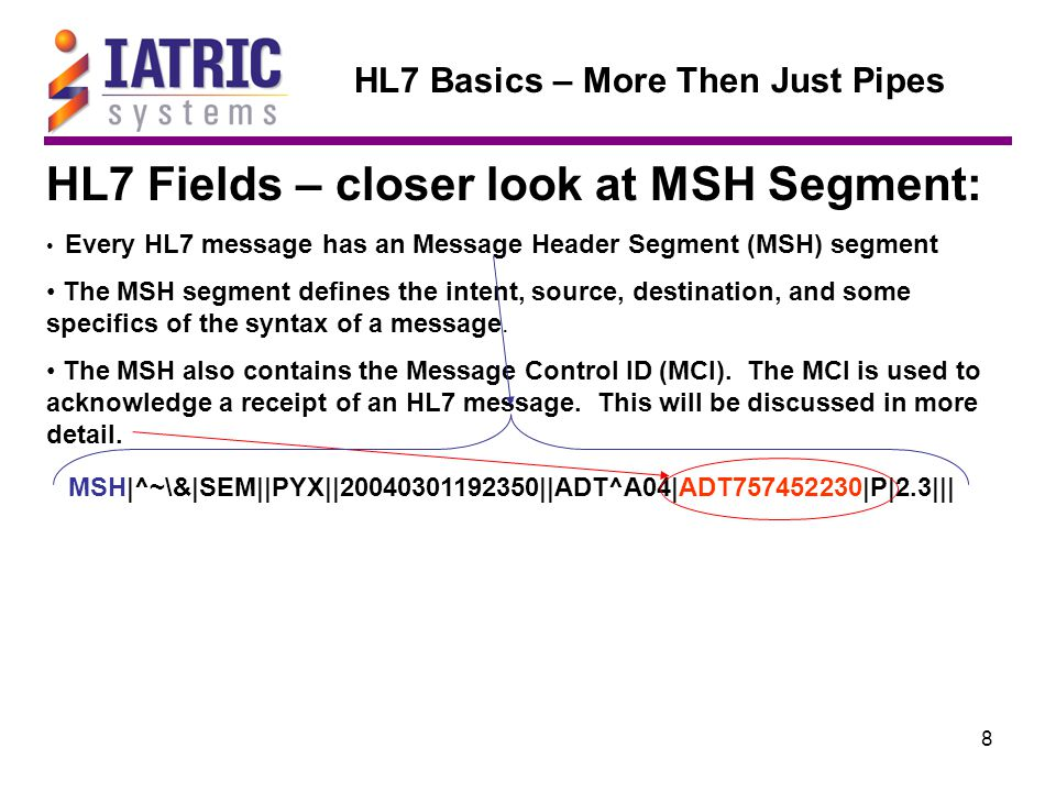 19 HL7 Basics – More Then Just Pipes HL7 Segment – Closer look at PID PID|||H000000076||TESTCHRISTIANSEN^JOHN^||19931212|M|||1400 CHARLES ST ^^LOVES PARK^IL^61111||885-2277|||S||D000000844|745-69-5847|||^