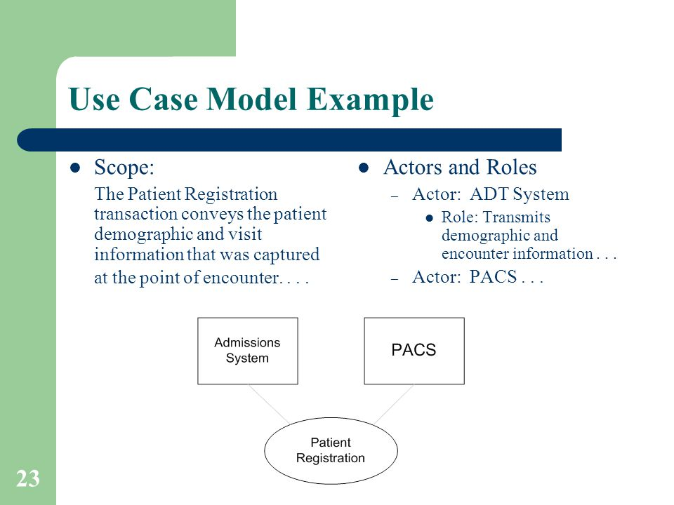 23 Use Case Model Example Scope: The Patient Registration transaction conveys the patient demographic and visit information that was captured at the p