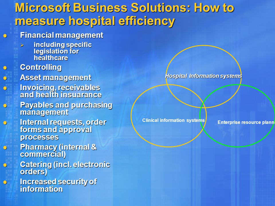 Microsoft Business Solutions: How to measure hospital efficiency Financial management Financial management  including specific legislation for healthcare Controlling Controlling Asset management Asset management Invoicing, receivables and health insuarance Invoicing, receivables and health insuarance Payables and purchasing management Payables and purchasing management Internal requests, order forms and approval processes Internal requests, order forms and approval processes Pharmacy (internal & commercial) Pharmacy (internal & commercial) Catering (incl.