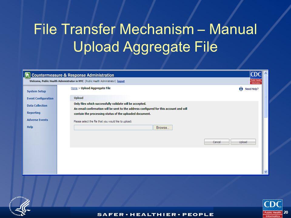 TM 20 File Transfer Mechanism – Manual Upload Aggregate File