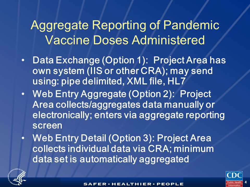 TM 4 Aggregate Reporting of Pandemic Vaccine Doses Administered Data Exchange (Option 1): Project Area has own system (IIS or other CRA); may send using: pipe delimited, XML file, HL7 Web Entry Aggregate (Option 2): Project Area collects/aggregates data manually or electronically; enters via aggregate reporting screen Web Entry Detail (Option 3): Project Area collects individual data via CRA; minimum data set is automatically aggregated