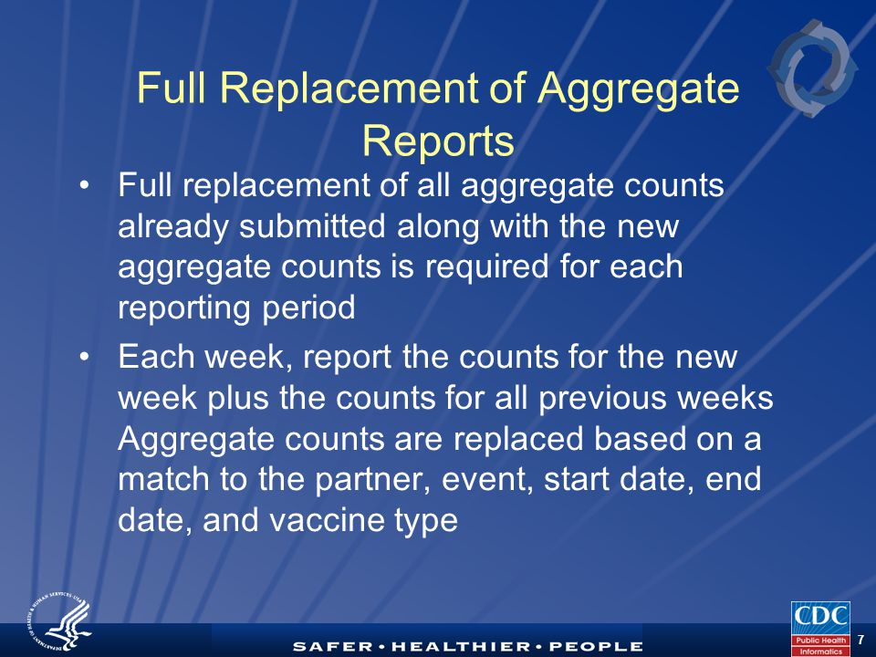 TM 7 Full Replacement of Aggregate Reports Full replacement of all aggregate counts already submitted along with the new aggregate counts is required for each reporting period Each week, report the counts for the new week plus the counts for all previous weeks Aggregate counts are replaced based on a match to the partner, event, start date, end date, and vaccine type