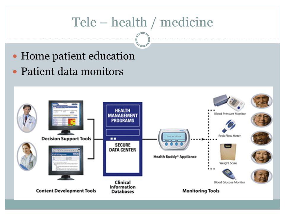 Tele – health / medicine Home patient education Patient data monitors