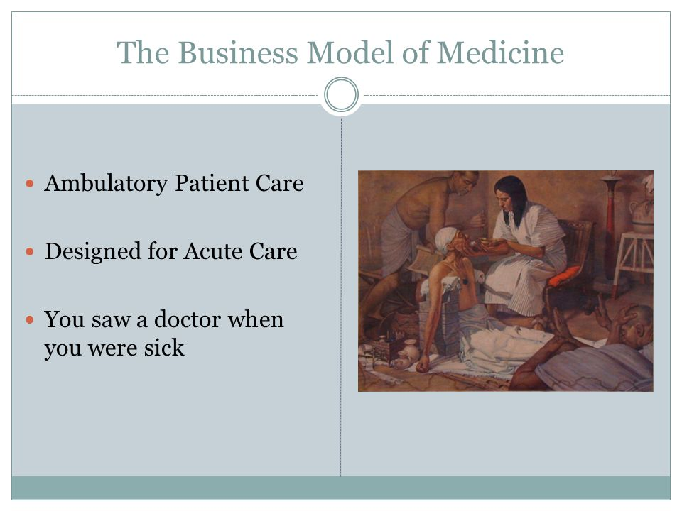 The Business Model of Medicine Ambulatory Patient Care Designed for Acute Care You saw a doctor when you were sick