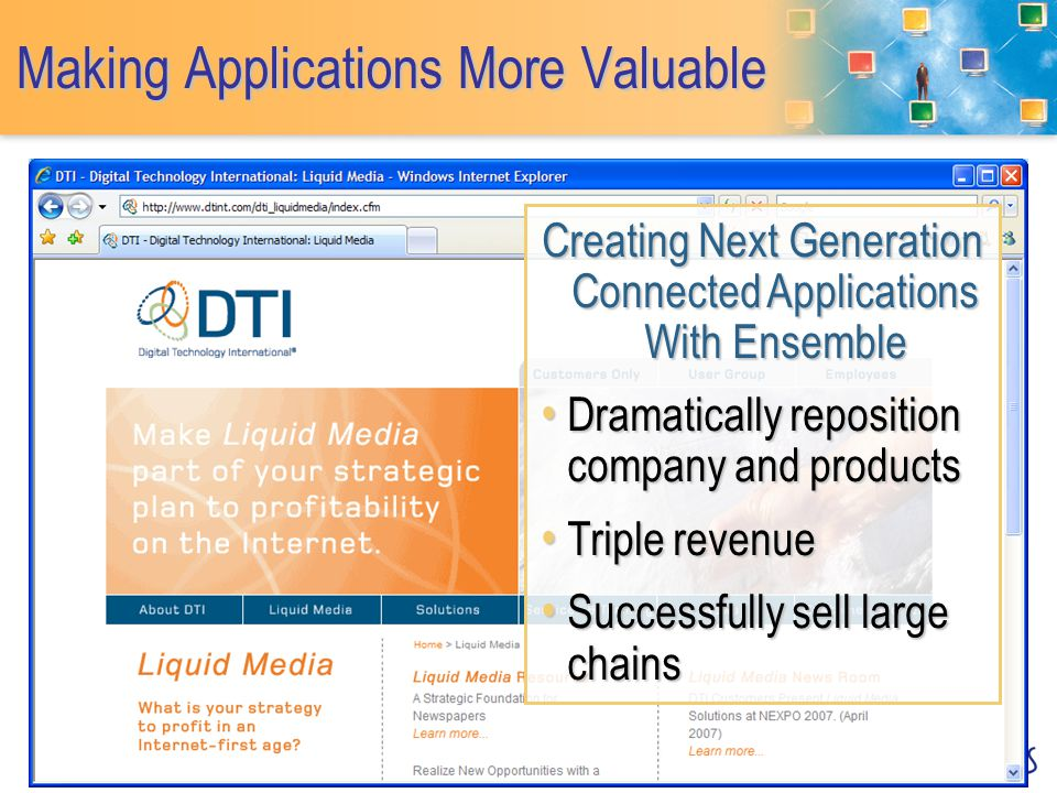 Making Applications More Valuable Creating Next Generation Connected Applications With Ensemble Dramatically reposition company and products Dramatically reposition company and products Triple revenue Triple revenue Successfully sell large chains Successfully sell large chains