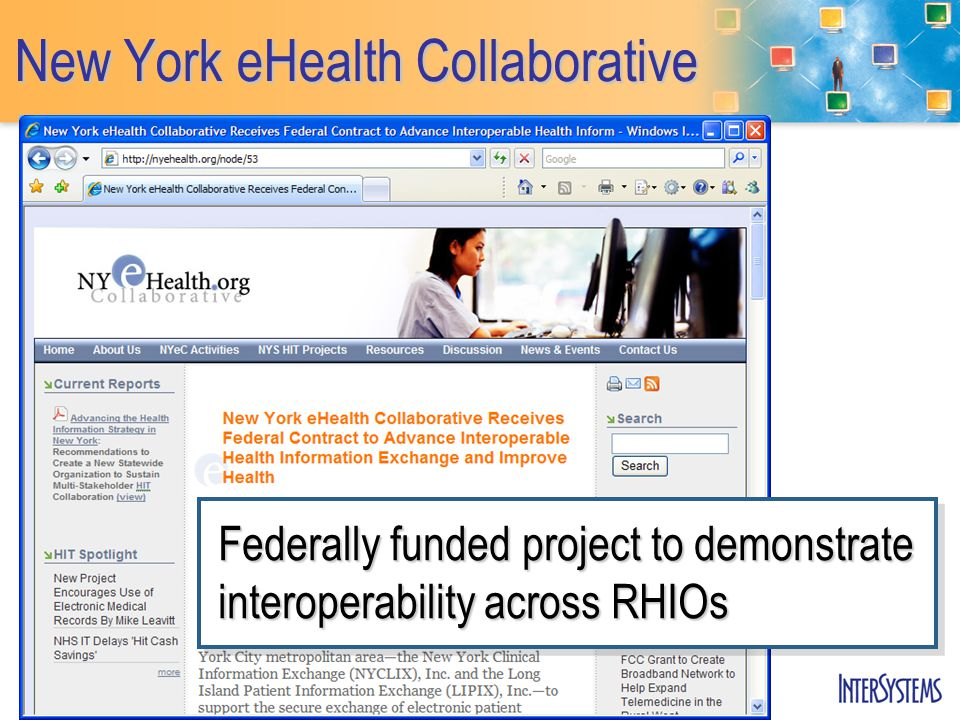 New York eHealth Collaborative Federally funded project to demonstrate interoperability across RHIOs