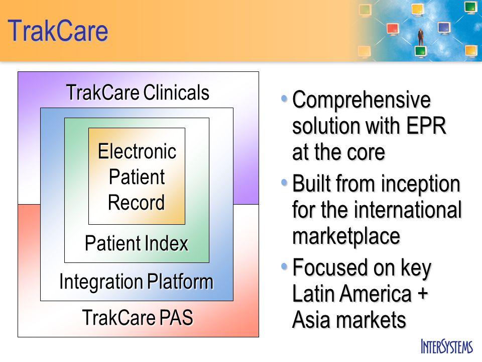 TrakCare TrakCare Clinicals TrakCare PAS Integration Platform Patient Index Electronic Patient Record Comprehensive solution with EPR at the core Comp