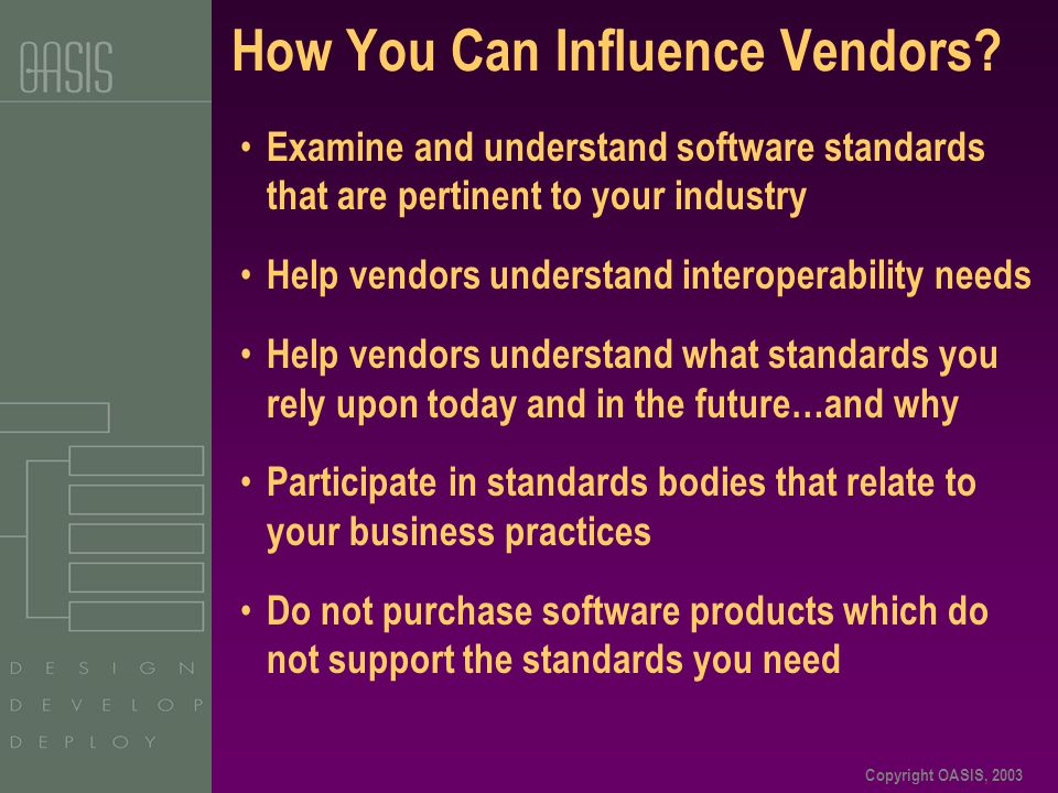 Copyright OASIS, 2003 How You Can Influence Vendors? Examine and understand software standards that are pertinent to your industry Help vendors unders