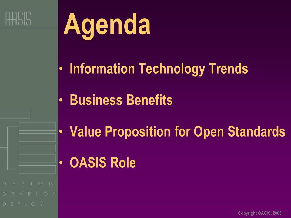 Copyright OASIS, 2003 ebXML Software Products – cont'd Oracle – Oracle 9i Application Server (ebXML, RosettaNet) Sterling Commerce - Sterling Integrator (ebXML MS, SOAP, WSDL, BPML) Sun Microsystems – JAXM (SOAP, ebXML MS) Sybase – Business Process Integration Suite (SOAP, WSDL, ebXML, RNIF) TIBCO Software – ActiveExchange (ebXML MS, RNIF, EDIFACT, X12, cXML, xCBL, BizTalk) Vitria – BusinessWare Integration Platform (ebXML MS, BPSS, CC, VCML, UBL) webMethods – Integration Platform (ebXML MS, RNIF, SOAP, WSDL) XML Global – GoXML (ebXML MS, RIM, RS, SOAP, WSDL, UDDI) Zenaptix – Xeco (ebXML MS, CPPA, BPSS) Open Source Efforts freebXML - (Open Source ebXML MS, RIM & RS) - www.freebxml.orgwww.freebxml.org Open ebXML - (Open Source ebXML MS, RIM & RS) - www.openebxmllab.orgwww.openebxmllab.org Open Source ebXML Registry - ebxmlrr.sourceforge.net/