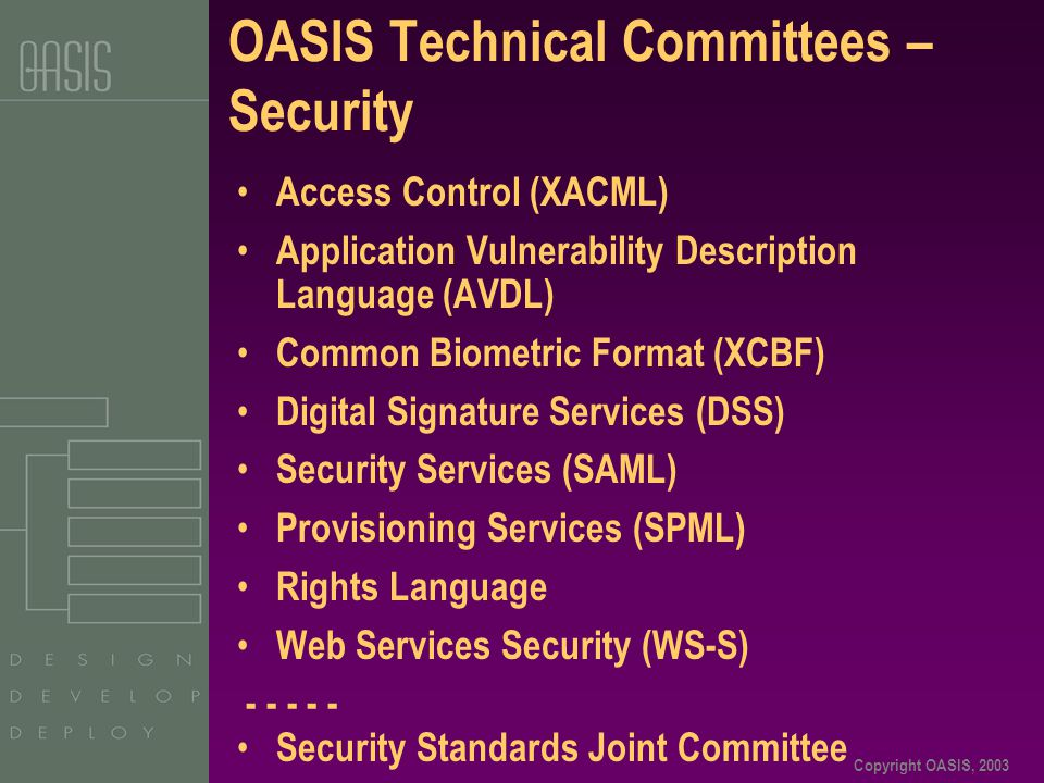Copyright OASIS, 2003 OASIS Technical Committees – Security Access Control (XACML) Application Vulnerability Description Language (AVDL) Common Biometric Format (XCBF) Digital Signature Services (DSS) Security Services (SAML) Provisioning Services (SPML) Rights Language Web Services Security (WS-S) - - - - - Security Standards Joint Committee
