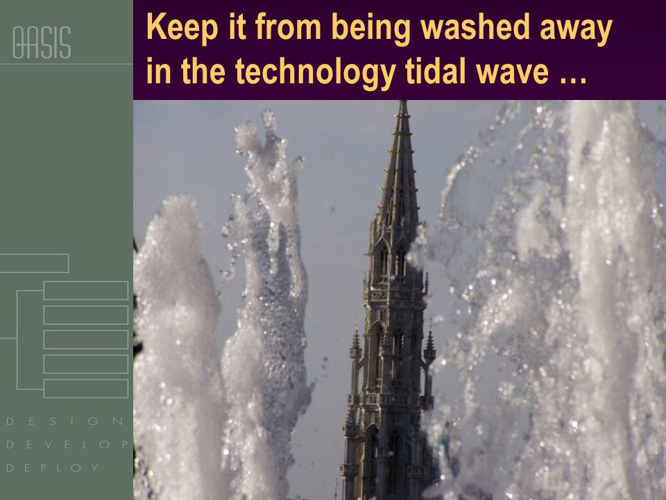 Copyright OASIS, 2003 Keep it from being washed away in the technology tidal wave …