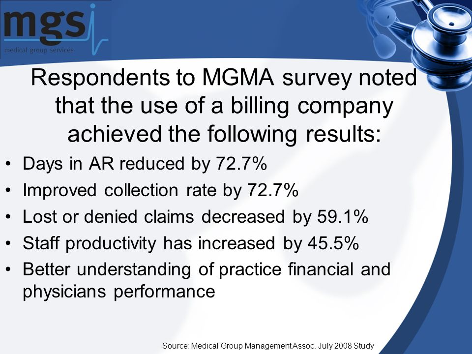 Respondents to MGMA survey noted that the use of a billing company achieved the following results: Source: Medical Group Management Assoc.