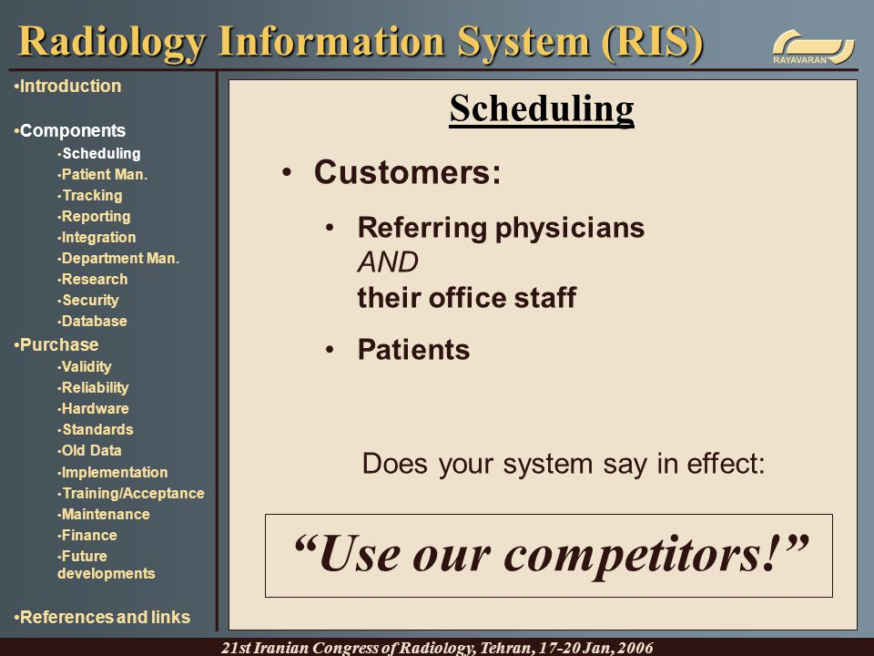 Scheduling Customers: Referring physicians AND their office staff Patients Does your system say in effect: Radiology Information System (RIS) 21st Ira