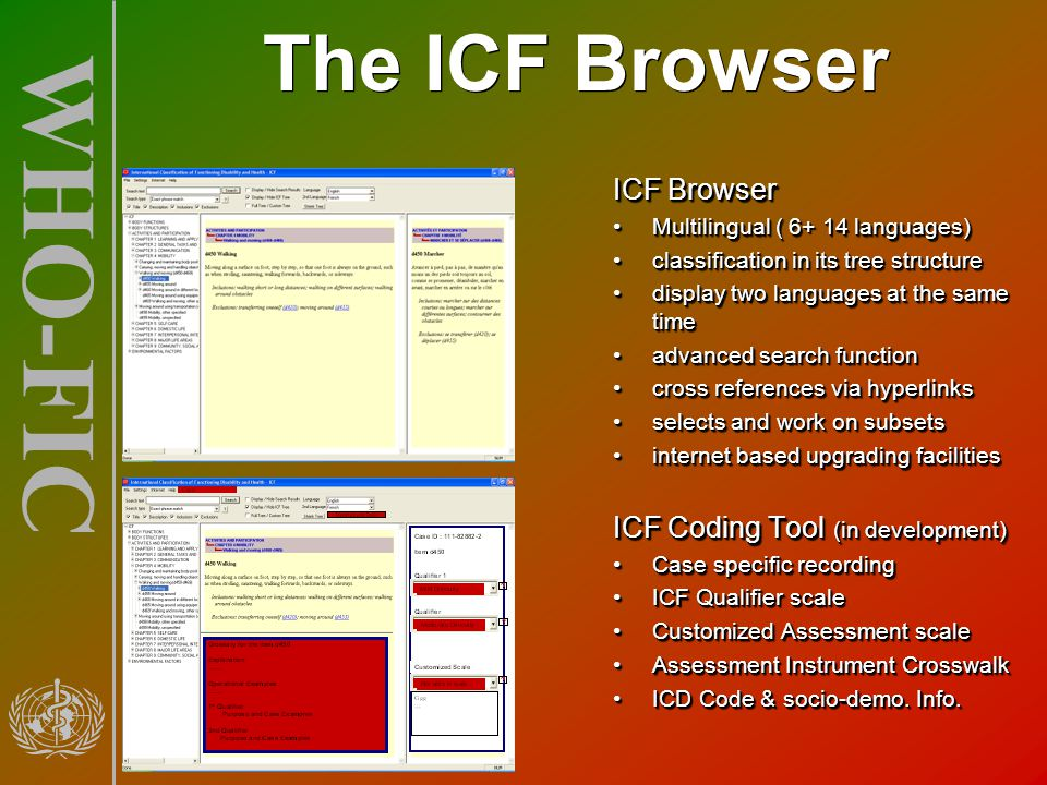WHO-FIC The ICF Browser ICF Browser Multilingual ( 6+ 14 languages)Multilingual ( 6+ 14 languages) classification in its tree structureclassification