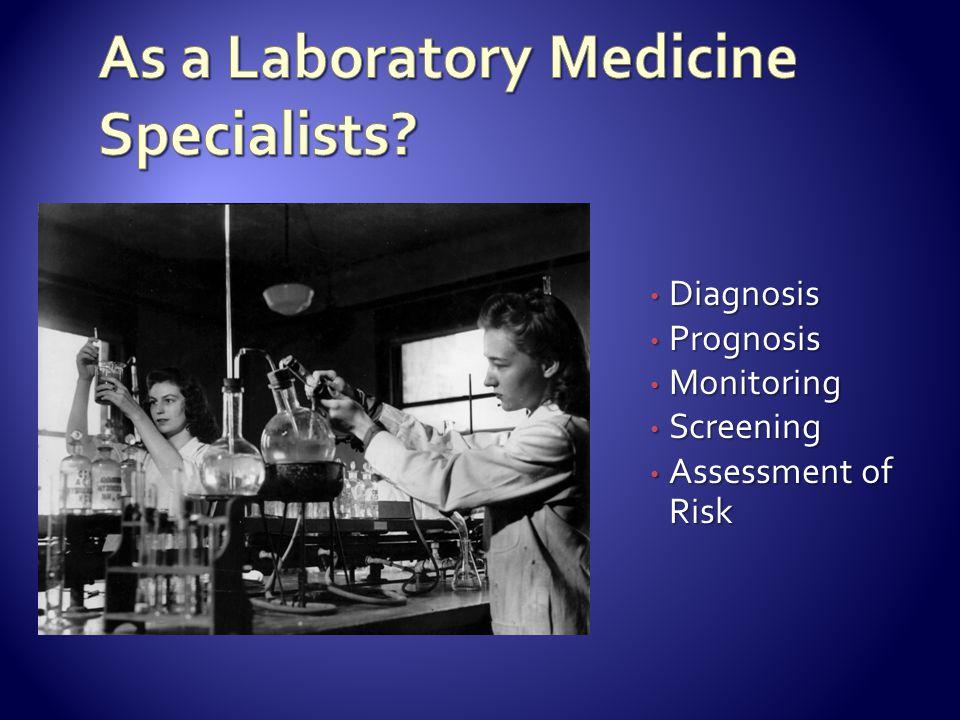Diagnosis Diagnosis Prognosis Prognosis Monitoring Monitoring Screening Screening Assessment of Risk Assessment of Risk